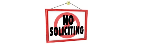 An image with the words no soliciting on.